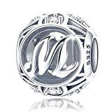 """FOREVER QUEEN Alphabet Buchstaben Charme mit klaren Zirkonia kompatibel für europäische Armbänder 925 Silber Sterling Anhänger für Halskette,BJ09121-M """"MEHRWEG"""""""