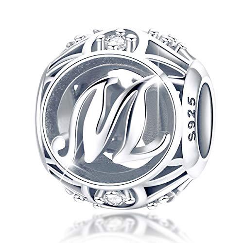 FOREVER QUEEN Alphabet Buchstabe M Charm Bead mit klaren Zirkonia kompatibel für europäische Armbänder 925 Silber Sterling Charm Anhänger,BJ09121-M MEHRWEG (Charms M Pandora)