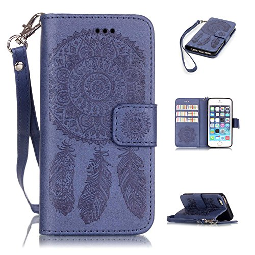 Nutbro iPhone 5S Case,iPhone 5 Case,Flip Wallet Pu Leather Case Stand Cover with Credit Card Slots Case for iPhone 5S/SE Dark Bluw