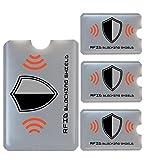 FreeHaveFun RFID Blocker NFC Schutzhülle | 4er Set + Gratis Ebook | 100% NFC Schutz vor Auslesung | 3x RFID Schutz-Hülle für Kreditkarte, Personalausweis + 1x Reisepass RFID Schutz + 3 farbige Sticker