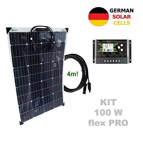 Kit 100W flex PRO 12V panel solar semi-flexible células alemanasComposición del Kit Solar:Panel solar semi-flexible 100W 12V células alemanasRegulador solar de 20A 12V/24V con display y 2 USB LCD VIASOLARPar de cable solar de 4m y 4mm2 con 1 conector...