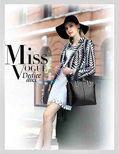 NICOLE&DORIS Borsa a tracolla intrecciata nuovo casuale stereotipi Borsa delle donne Messenger Bag(Black) nero