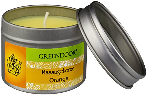 Greendoor BIO Massagekerze Orange, 100 ml - BIO Sojawachs & BIO Babassuöl, natur-reines Orangen-Öl - vegan, rußt nicht, keine Tierversuche - besonderes Geschenk, Massageöl Massage Öl - 4