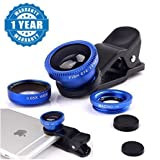 #10: Raptas Blue Universal 3-In-1 Clip-On Fisheye + Wide Angle + Macro Lens for Xiaomi Mi, Apple, Samsung, Sony, Lenovo, Oppo, Vivo Smartphones