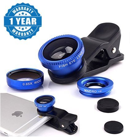 Raptas Blue Universal 3-In-1 Clip-On Fisheye + Wide Angle + Macro Lens for Xiaomi Mi, Apple, Samsung, Sony, Lenovo, Oppo, Vivo Smartphones