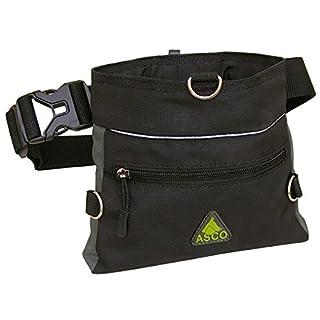ASCO Treat Bag , Dog Horse Training Treat Pouch with One Hand Opening System, Agility Waist Bag 20 x 20 cm , black grey AC61TB