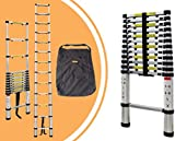 Leogreen - Telescopic ladder, Extendable Ladder, 12.5 feet, Carry bag, Extra gap, EN 131, Maximum load: 330 lbs, Folded size: 88 x 48.5 x 9 cm