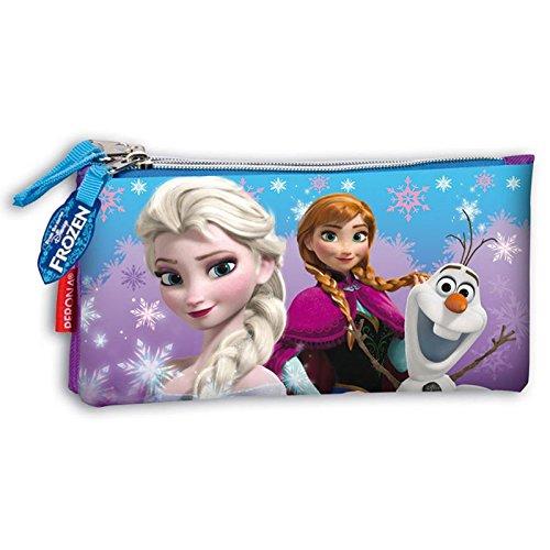 Disney – Portatodo triple plano frozen snow dots azul/morado
