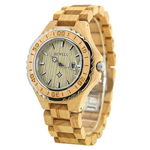 BEWELL Holz Armbanduhr mit dem Kalender wasserdichter Quarz Movement Round Dial Light Retro Fashion Uhren für Damen (Frauen, Maple)