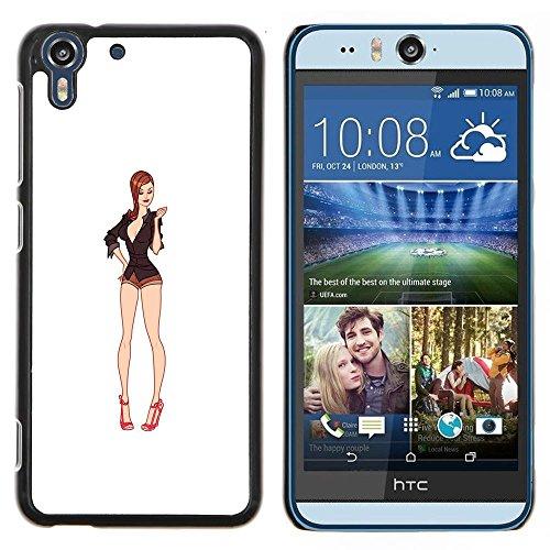 Eason Shop / Duro Slim Snap-On caso della copertura di Shell Custodia - Bianco Modella Decolleté Pin Up - For HTC Desire Eye ( M910x )