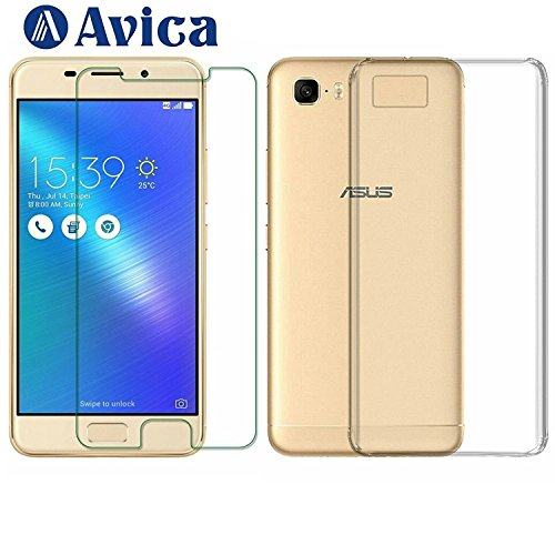 AVICA Combo Offer Premium Transparent Back Cover TPU + 0.3mm Flexible Tempered Glass Screen Protector for Asus Zenfone 3S Max ZC521TL image