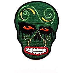 Patch crâne vert Jour des morts noir larmes Mascara fantôme Rockabilly Lady Biker Patch Veste/Veste motard motard cycliste motard tatouage veste T-shirt à coudre thermocollant brodé