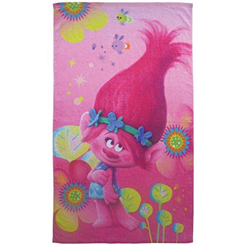 Trolls Poppy–Toalla de playa algodón rosa 70x 120cm.