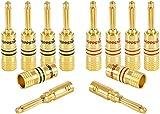 Poppstar 10x High End Bananenstecker, Bananas für Lautsprecherkabel (bis 4 mm²), Lautsprecher, AV Receiver, 24k vergoldet (5X schwarz, 5X rot)