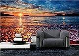 HUANGYAHUI Mural integrada 3D, puesta de sol, puesta de sol, paisaje, salón, sofá, televisión, Fondo, pared, Papel tapiz y 250cmx175cm