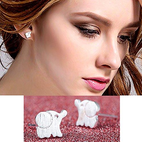 bodya-pair-polished-silver-plated-cute-brushed-elephant-design-ear-post-bar-stud-earrings-simplify-s
