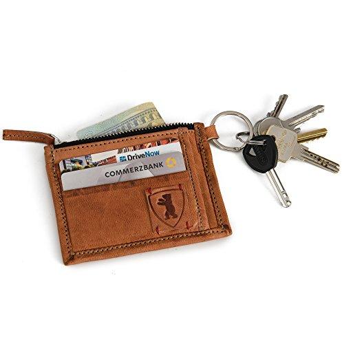 Geldbörse Leder BERLINER BAGS mit Kette Portemonnaie Geldbeutel Portemonnaie Wallet Vintage Braun Klein - Braun Tasche Mittagessen