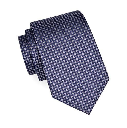 Massi Morino Seidenkrawatten für Herren, handgenähte Krawatte aus 100% echter Seide in verschiedenen Farben - schmale 6,5 cm Slim Fit Herrenkrawatte (Grau / Blau kariert) (Seidenkrawatten Blau Grau)