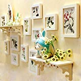 #10: WollWoll Floral Photos with Wall Shelf Sofa Background Large Wood Photo Frame Set (138 cm x 2 cm x 62 cm, White)
