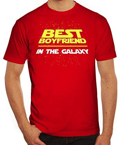 Valentinstag Paar Partner Valentine Herren T-Shirt mit Best Boyfriend In The Galaxy Motiv Rot