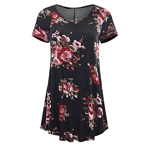 HET Damen Sommer T-Shirt Mode Kurzarm Sexy Schlank V-Ausschnitt Floral Druck Drucken Zusammengebaut Tops Damen Langen Rock Bluse (L, Schwarz) (College Kostüme Für Jungs)