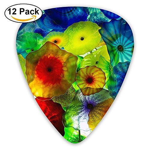 12-pack Guitar Picks Plectrums 0.46mm/0.71mm/0.96mm Abstract Multicolor Stylish Colorful Celluloid For Bass Ukulele (Abstract Multi Color)
