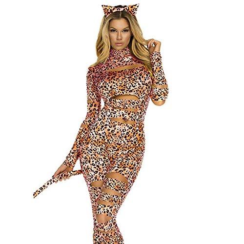 nihiug Bühnenkleid Sexy Leopard Frau Verbundene Hosen Lange Ärmel Hosen Halloween Kostüme Party Kostüme Leiche,Color