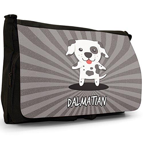 Mondo Cartoon cani grande borsa a tracolla Messenger Tela Nera, scuola/Borsa Per Laptop Dalmatian, Carriage Dog, Dal