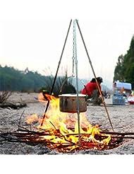 CFtrum Trípode 106m con cadena y gancho para BBQ Parrilla gulasch