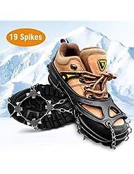 HWeggo Steigeisen,Silikon Schneeketten Steigeisen mit Edelstahl Anti Rutsch Spikes für High Altitude Wandern EIS Schnee - 19 Zähnen Edelstahl
