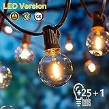 [26 LED Versie] Buitenlichtketting,7,6 meter 25+1 gloeilampen OxyLED G40 LED tuinlichtketting Terras buiten de lichtketting,Waterdichte binnen/buitenlichtkettingen voor feest,bruiloft,Kerstmis