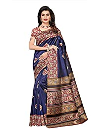 Fabwomen Crepe Silk Saree With Blouse Piece (_Blue_Free Size)