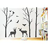 Rawpockets 'Deer and Jungle Black Story' Wall Sticker (PVC Vinyl, 1 cm x 105 cm x 130 cm)