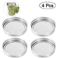 BESTONZON 4pcs semillas de acero inoxidable pantalla de brotación tapas de brotación para boca redonda traje de tarro de conservas para hacer semillas de germinado orgánico en la casa y cocina