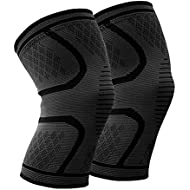 Beskey Knee Support (Pair) Anti Slip Knee Brace Super Elastic Breathable Knee Compression Sleeve Help Joint Pain Relief Arthritic Sufferer Recovery from Injuries Fit Sports