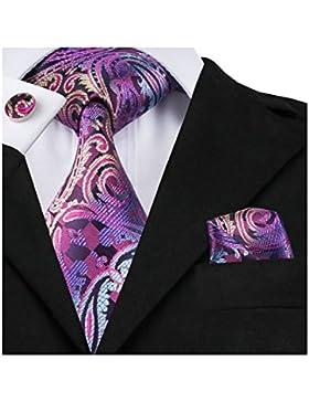 hi-tie Classic Hombres de seda corbata incluye pañuelo Gemelos