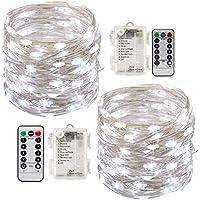 2 x10m Guirlande LED Lumineuse à Pile 100 LEDs Fonction Minuterie avec Télécommande IP65 Etanche Décoration intérieur et extérieur pour Noël Mariage Soirée Maison Jardin (blanc, 10m)