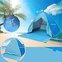Tienda de campaña familiar con puerta con cremallera / refugio para playa, jardín, ir de pesca... Con protección anti UV y montaje automático, azul
