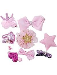 21eb4a1e055 prelikes 10 Pcs Girl Bowknot Flower Hair Clip Multi-Style Bow Hairpin  Ribbon Xmas Gift