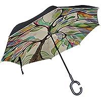 bennigiry Magic impresión resistente al viento Reverse plegable doble capa paraguas invertido con manos libres en forma mango para viajar y uso de coche, Unisex, Multicolor3, talla única