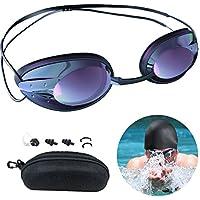 METALBAY Kit de Gafas Natación, Gafas y Gorro para Nadar para Adultos, Hombres y Mujeres con Gorro de Natación, Clip Nasal y Tapones Oídos