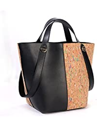 Basecamp Cork Tote Shoulder Bags In Genuine Leather Women'S Top Handle Satchel Handbags Made In Cork Coated (L...