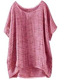 Darringls_camisetas para Mujer,Verano Camiseta Costura Cruz de Banda Manga Corta Casual Suelto Blusas
