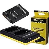 Juego de 3in1para la Nikon Coolpix S9600y Coolpix AW130–-- Premium Batería para Nikon EN-EL12(fuerte 1000mAh) + Dual Cargador (Cargue 2baterías Via USB de conector A La Vez) Incluye PATONA displaypad