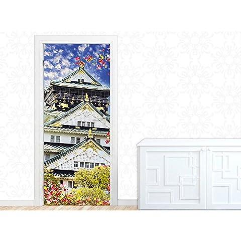 Porta Porta carta da parati Poster porta per soggiorno asiatico tempio fiore (92x213cm)