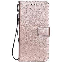 Funda Cartera Huawei P Smart 2019/Honor 10 Lite,Fundas [Ranuras para Tarjetas][Cierre Magnético] [Soporte Plegable] TPU Protección Carcasa Paraético para Huawei PSmart 2019 - DEKT031215 Oro Rosa