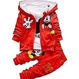 Bold N Elegant Cute Mickey Mouse Cartoon Graphics 3 Piece Autumn Winter Baby Boy Girl Clothing Set t-Shirt with Hood Jacket N