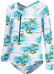 Moon Tree - Bañador de una pieza para niña, bañador de estilo hawaiano con volantes.