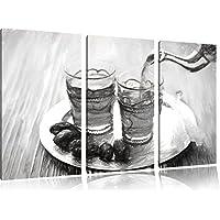 Arab tè carbone effetto disegno 3 pezzi picture tela 120x80 immagine sulla tela, XXL enormi immagini completamente Pagina con la barella, stampe d'arte sul murale cornice gänstiger come la pittura o un dipinto ad olio, non un manifesto o un banner, - Arancione Menta Dell'erba