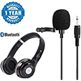 Drumstone Lapel Microphone Mini Metal Clip-On Omnidirectional Condenser Lavalier Mic And S450 Wireless Bluetooth Fm Radio With Tf Card Slot Noise Canceling Headphone Compatible With All Smartphones (One Year Warranty)